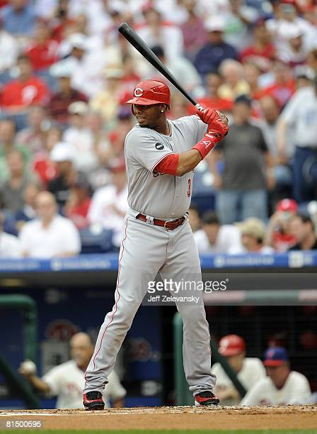 Ken Griffey of the Cincinnati Reds bats in a game against the Philadelphia Phillies on June 5, 2008 at Citizens Bank Park in Philadelphia,...