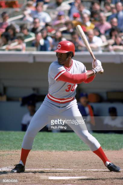 Ken Griffey of the Cincinnati Reds steps into the pitch during a 1978 season game