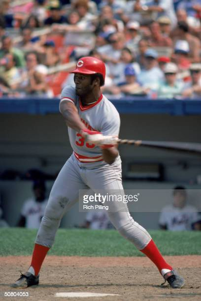Ken Griffey of the Cincinnati Reds swings at the pitch during a 1980 season game against the Mets at Shea Stadium in Flushing New York