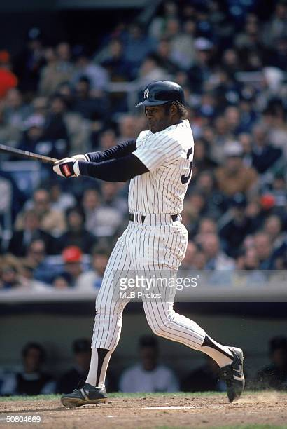 Ken Griffey of the New York Yankees follows through on a swing during a 1984 season game at Yankee Stadium in the Bronx New York