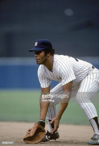 Ken Griffey of the New York Yankees positions to field a grounder during a 1983 season game at Yankee Stadium in the Bronx New York