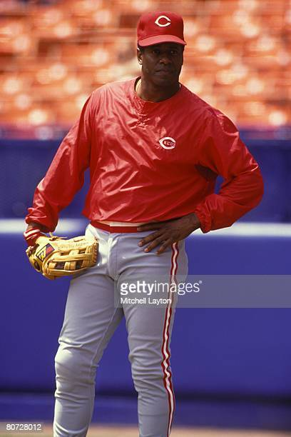 Ken Griffey Sr. #30 of the Cincinnati Reds before a baseball game against the New York Mets on July 15, 1990 at Shea Stadium in New York, New York.