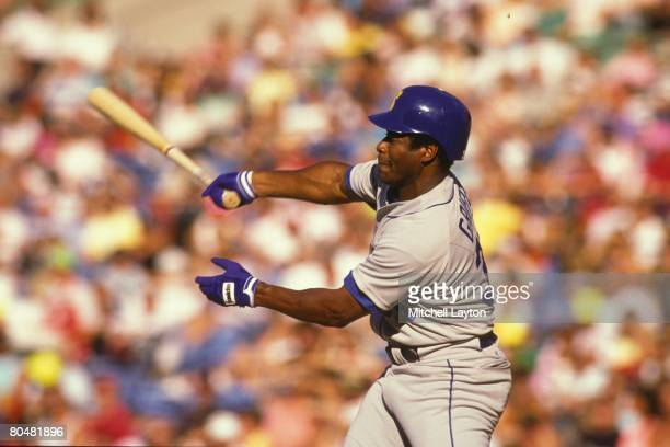 Ken Griffey Sr #30 of the Seattle Mariners bats during a baseball game against the Baltimore Orioles on September 10 1990 at Camden Yards in...