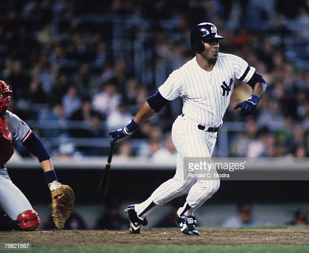 Ken Griffey Sr #33 of the New York Yankees batting against the Cleveland Indians on April 25 1986 at Yankee Stadium the the Bronx New York