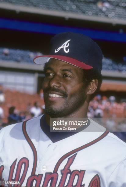 Ken Griffey Sr of the Atlanta Braves smiling and looks on before the start of a Major League Baseball game against the New York Mets circa 1987 at...