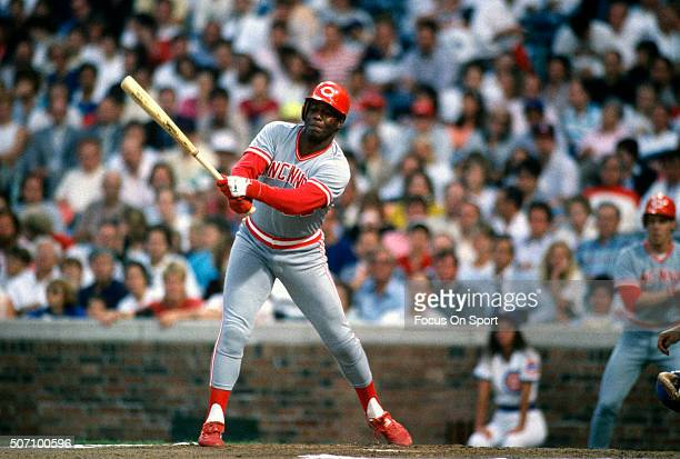Ken Griffey Sr of the Cincinnati Reds bats against the Chicago Cubs during a Major League Baseball game circa 1989 at Wrigley Field in Chicago...
