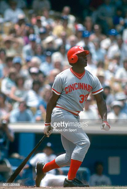 Ken Griffey Sr of the Cincinnati Reds bats against the Los Angeles Dodgers during a Major League Baseball game circa 1978 at Dodger Stadium in Los...