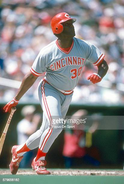 Ken Griffey Sr of the Cincinnati Reds bats against the Philadelphia Phillies during a Major League Baseball game circa 1990 at Veterans Stadium in...