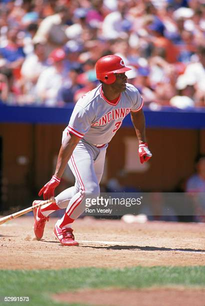 Ken Griffey Sr of the Cincinnati Reds bats during an MLB game at Shea Stadium in Flushing New York Ken Griffey Sr played for the Cincinnati Reds from...