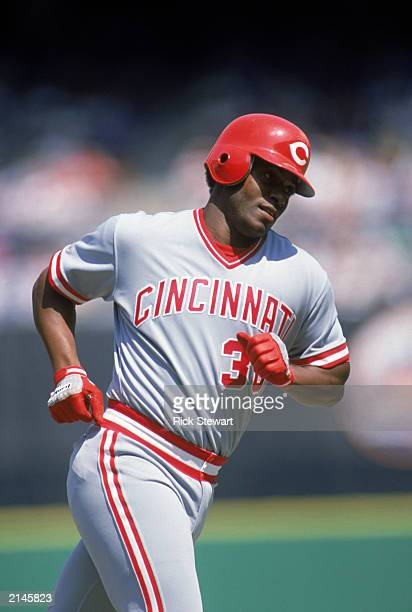 Ken Griffey Sr of the Cincinnati Reds runs the bases during a MLB game in the 1986 season