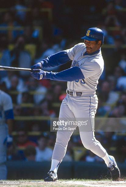 Ken Griffey Sr of the Seattle Mariners bats against the Chicago White Sox during a Major League Baseball game circa 1991 at Comiskey Park in Chicago...