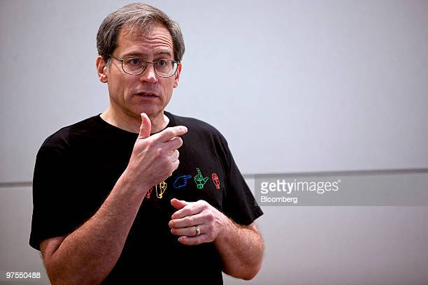 Ken Harrenstein a hearing impaired Google Inc engineer uses sign language to talk about a new auto captioning feature on Google's YouTubecom video...