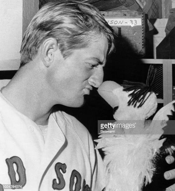 """Ken """"Hawk"""" Harrelson of the Boston Red Sox is nose-to-nose with a stuffed toy hawk prior to the night game with the California Angels at Fenway Park..."""
