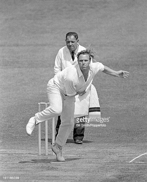 Ken Higgs bowling for Lancashire during their County Championship match against Northamptonshire at the County Ground in Northampton, 28th June 1969....