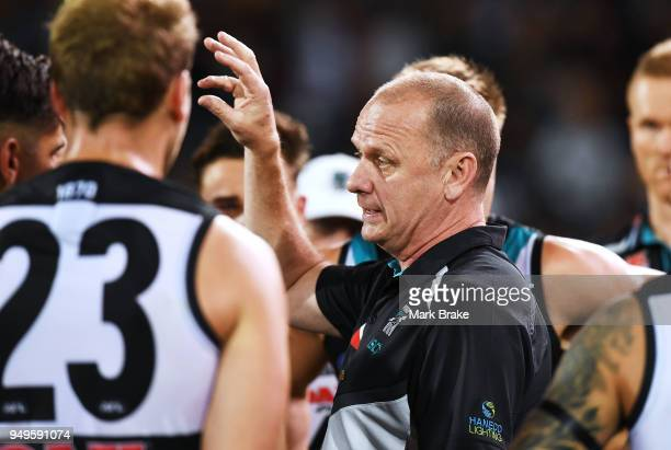 Ken Hinkley Port Adelaide coach at threee quarter time during the round five AFL match between the Port Adelaide Power and the Geelong Cats at...