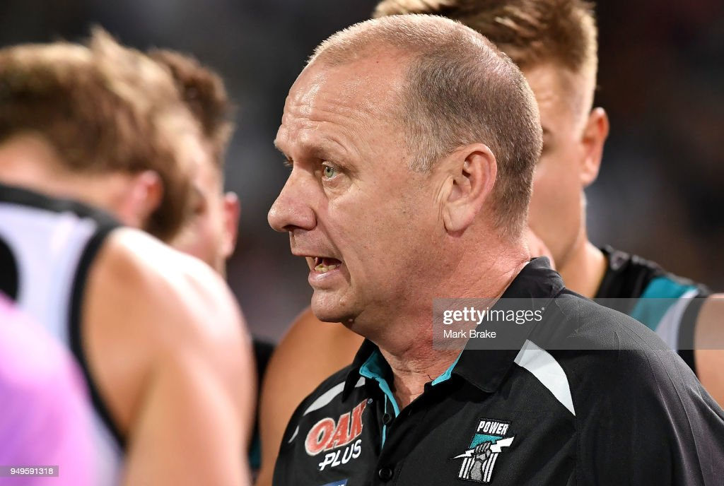 Ken Hinkley Port Adelaide coach during the round five AFL match between the Port Adelaide Power and the Geelong Cats at Adelaide Oval on April 21, 2018 in Adelaide, Australia.