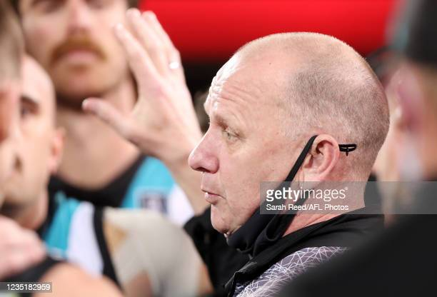 Ken Hinkley, Senior Coach of the Power at 3 quarter time during the 2021 AFL Second Preliminary Final match between the Port Adelaide Power and the...
