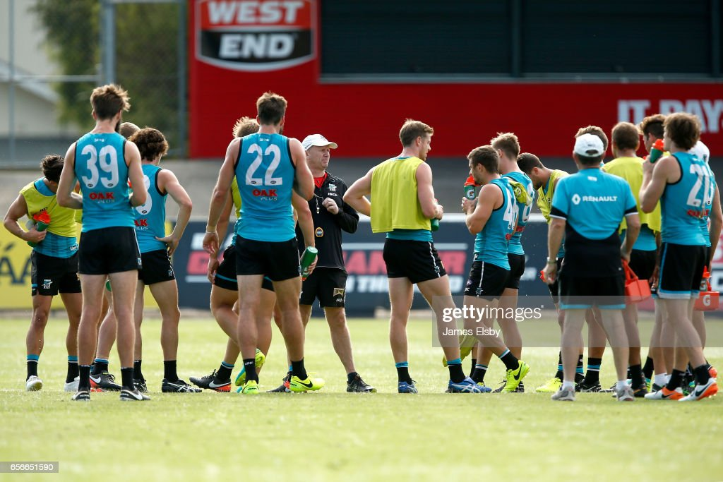 Ken Hinkley talks to his players during a Port Power AFL Training Session at Alberton Oval on March 23, 2017 in Adelaide, Australia.