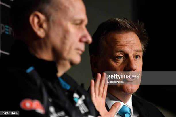 Ken Hinkley the coach of the Power and Port Adelaide chief executive Keith Thomas speak to the media at Alberton Oval on September 19 2017 in...