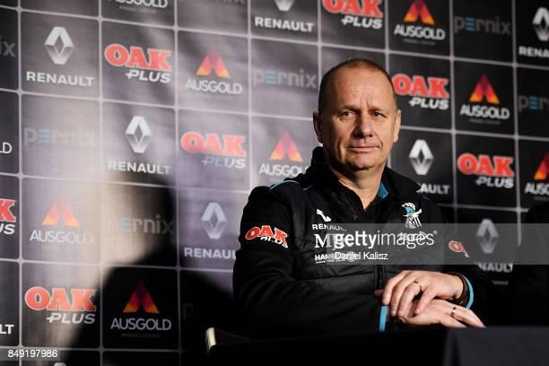 Ken Hinkley the coach of the Power speaks to the media at Alberton Oval on September 19 2017 in Adelaide Australia