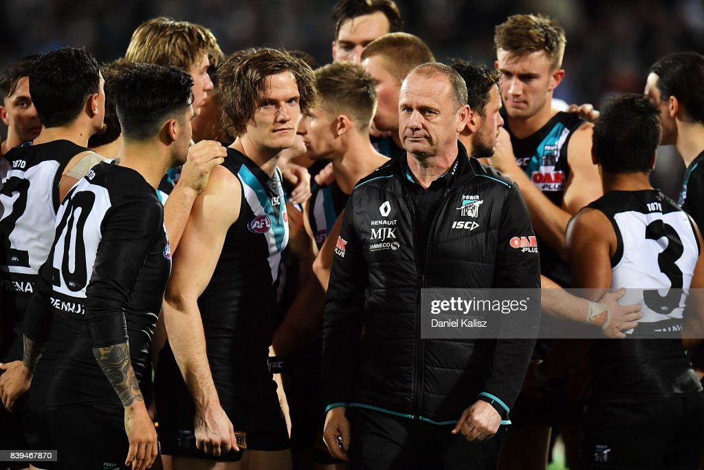 Ken Hinkley the coach of the Power walks from the field at three quarter time during the round 23 AFL match between the Port Adelaide Power and the Gold Coast Suns at Adelaide Oval on August 26, 2017 in Adelaide, Australia.
