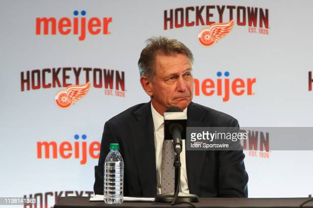 Ken Holland addresses members of the media during a press conference to introduce Steve Yzerman as the new Executive Vice President and General...