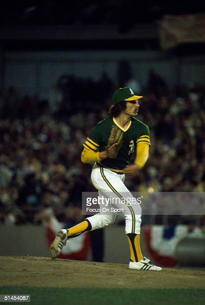 Ken Holtzman of the Oakland Athletics pitches against the New York Mets during the World Series at Shea Stadium during game 4 in Flushing New York on...