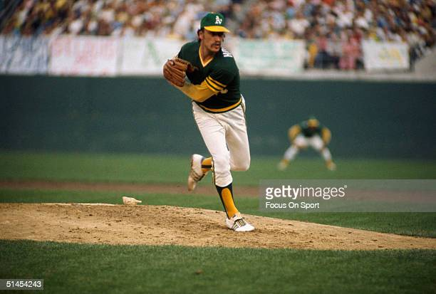 Ken Holtzman of the Oakland Athletics pitches on the mound during the World Series against the Los Angeles Dodgers at Dodger Stadium on October 1974...