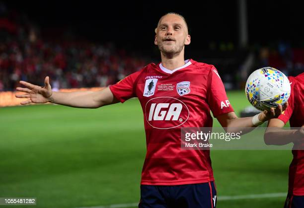 Ken Ilso of Adelaide United clelebrates after the FFA Cup Final match between Adelaide United and Sydney FC at Coopers Stadium on October 30 2018 in...
