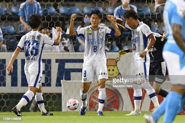 Ken Iwao of Tokushima Vortis celebrates the second goal during the J.League Meiji Yasuda J2 match between Jubilo Iwata and Tokushima Vortis at Yamaha...