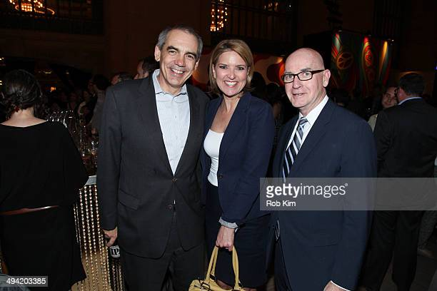 Ken Jautz executive vice president of CNN and Christine Romans attend the Sixties series premiere party at Grand Central Terminal on May 28 2014 in...