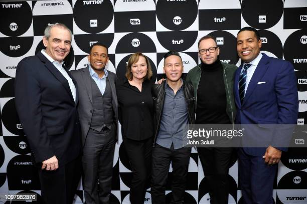 CNN EVP Ken Jautz Hill Harper Donnie Wahlberg Nancy Duffy BD Wong and Joey Jackson pose in the green room during the TCA Turner Winter Press Tour...