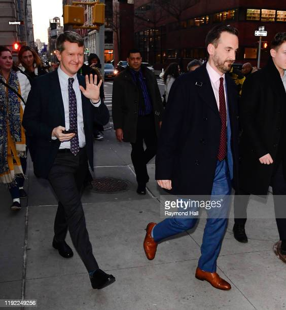 Ken Jennings and Brad Rutter are seen outside build studio on January 6 2020 in New York City