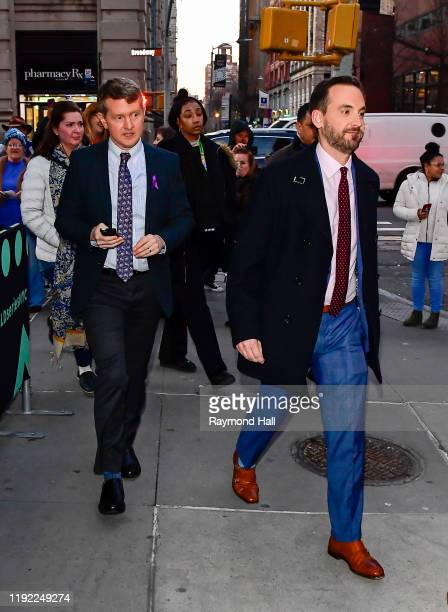 Ken Jennings and Brad Rutter are seen outside build studio on January 6, 2020 in New York City.