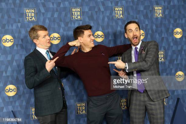 Ken Jennings James Holzhauer and Brad Rutter attend ABC Television's Winter Press Tour 2020 held at The Langham Huntington Pasadena on January 08...