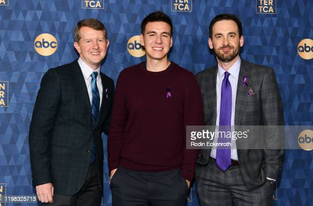 Ken Jennings James Holzhauer and Brad Rutter attend the ABC Television's Winter Press Tour 2020 at The Langham Huntington Pasadena on January 08 2020...