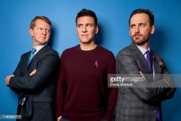 Ken Jennings James Holzhauer and Brad Rutter of ABC's Jeopardy pose for a portrait during the 2020 Winter TCA at The Langham Huntington Pasadena on...
