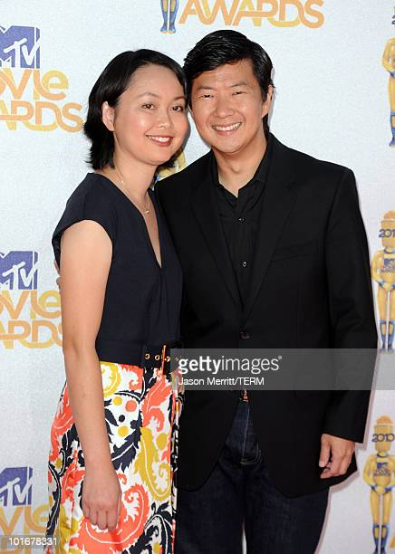 Ken Jeong and wife Tran Jeong arrive at the 2010 MTV Movie Awards held at the Gibson Amphitheatre at Universal Studios on June 6 2010 in Universal...