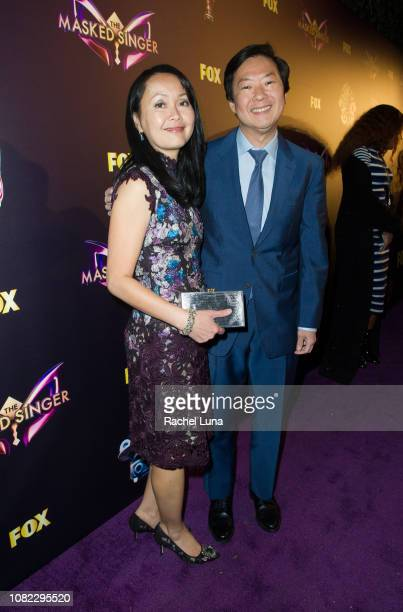 Ken Jeong and wife Tran Jeong attends Fox's 'The Masked Singer' Premiere Karaoke Event at The Peppermint Club on December 13 2018 in Los Angeles...