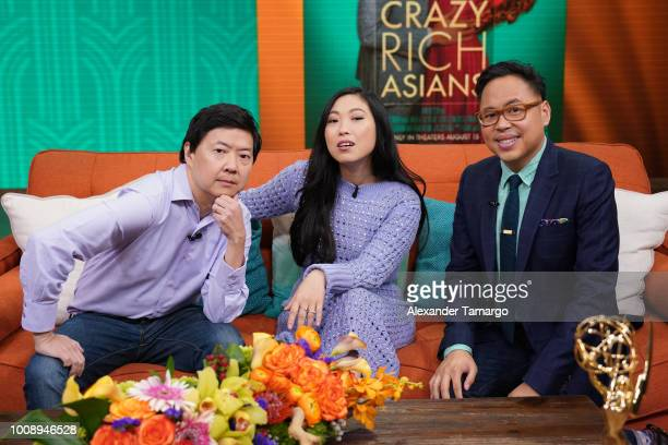 Ken Jeong Awkwafina and Nico Santos are seen on the set of 'Despierta America' at Univision Studios to promote the film 'Crazy Rich Asians' on August...