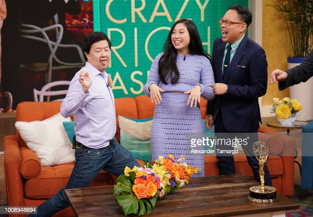 Ken Jeong Awkwafina and Nico Santos are seen on the set of Despierta America at Univision Studios to promote the film Crazy Rich Asians on August 1...