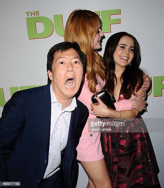 Ken Jeong Bella Thorne and Mae Whitman attend the premiere of The Duff at TCL Chinese 6 Theatres on February 12 2015 in Hollywood California