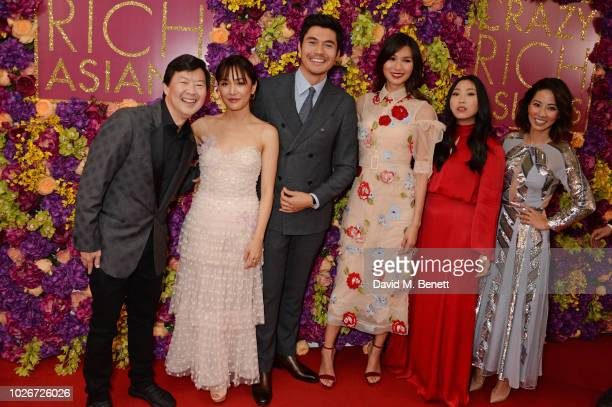 Ken Jeong Constance Wu Henry Golding Gemma Chan Awkwafina and Jing Lusi attend a special screening of 'Crazy Rich Asians' at The Ham Yard Hotel on...
