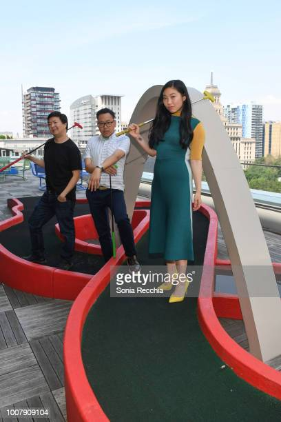 Ken Jeong Nico Santos and Awkwafina touch down in Toronto to celebrate the release of Crazy Rich Asians on July 30 2018 in Toronto Canada