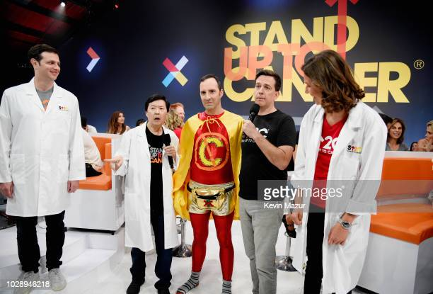 Ken Jeong Tony Hale and Ed Helms attend the sixth biennial Stand Up To Cancer telecast at the Barkar Hangar on Friday September 7 2018 in Santa...