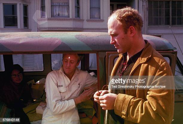 Ken Kesey and Stewart Brand hang out on Harriet Street before the Acid Test Graduation San Francisco | Location outside the Warehouse Harriet Street...