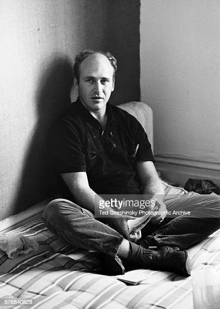 Ken Kesey author and leader of the psychedelic movement sits in a borrowed apartment planning the Acid Test Graduation