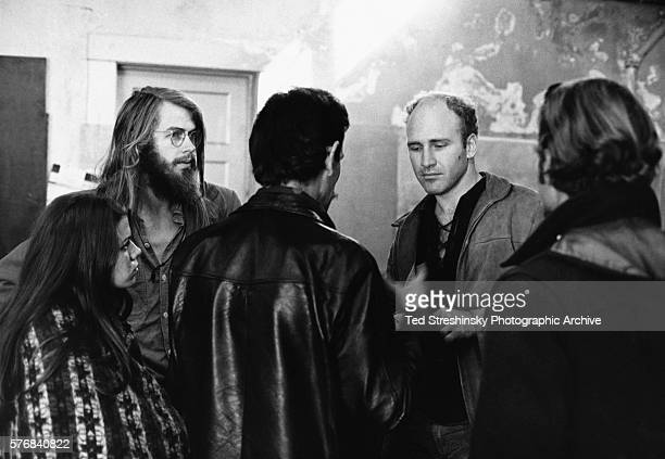 Ken Kesey author and leader of the psychedelic movement talks with Chet Helms and Gary Goldhill San Francisco