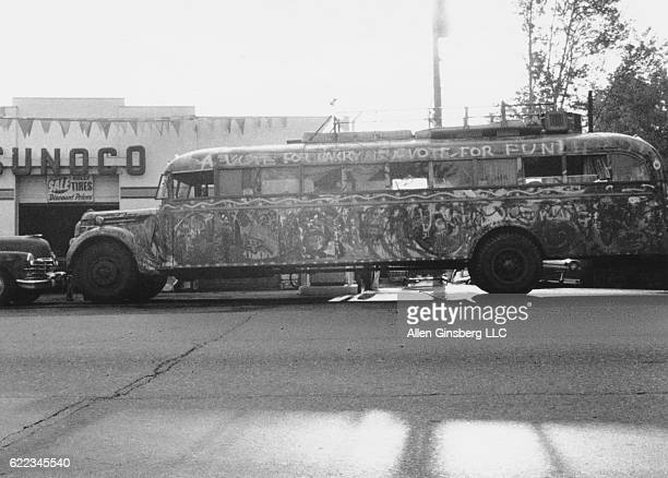 Ken Kesey's bus 'Further' on trip upstate New York to Millbrook to visit Tim Leary 1964 Location New York