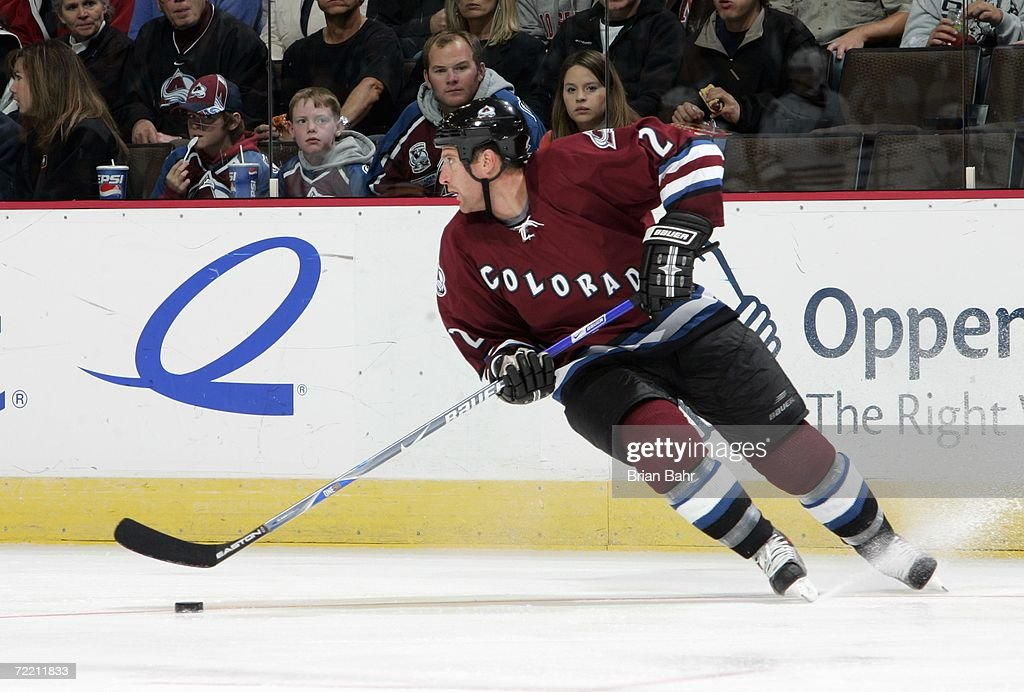 Ken Klee #2 of the Colorado Avalanche skates with the puck during the game against the Edmonton Oilers on October 14, 2006 at the Pepsi Center in Denver, Colorado. The Oilers won 4-3.